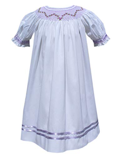 Baby Girls Heirloom Hand Smocked Bishop Dress White Lavender Ribbons