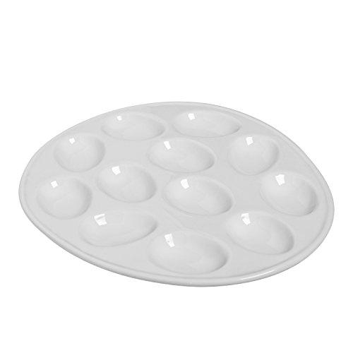 (Kitchen Supply 8020 White Porcelain Egg Plate)