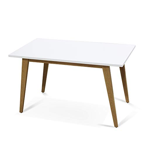 IDS Online MLM-18748-T Contemporary Norway Simplicity Style MDF White Dining Table with Wooden Skin Cover Metal Leg for 6, Rectagular, L51 X W29.5 X H29.5 For Sale