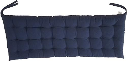 Cottone 100% Cotton Chair Pads w/Ties| 40' x 16' Bench Cushion | Extra-Comfortable & Soft Seat Cushions | Ergonomic Pillows for Rocking, Dining, Patio, Camping, Kitchen Chairs & More, Blue