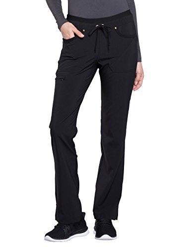 Cherokee iFlex CK010 Mid Rise Tapered Leg Drawstring Pant Black M Petite