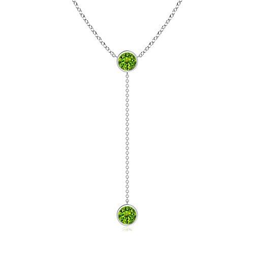 - Bezel-Set Round Peridot Lariat Style Necklace in Platinum (6mm Peridot)