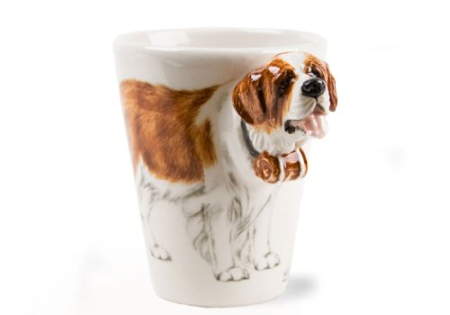 St Bernard 8oz Brown and White Handmade Coffee Mug (10cm x 8cm)