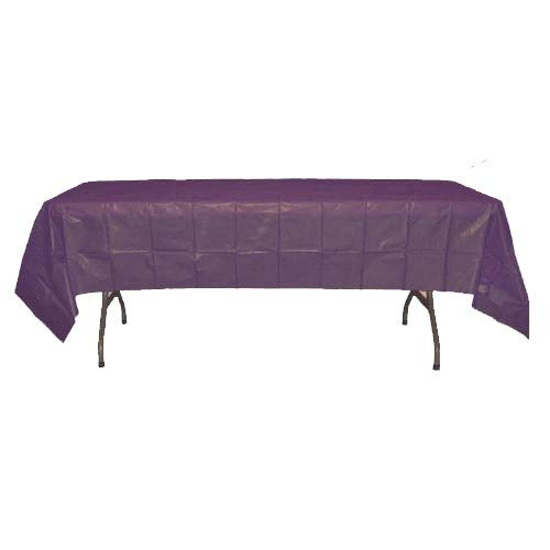 12-Pack Premium Plastic Tablecloth 54in. x 108in. Rectangle Table Cover - Plum