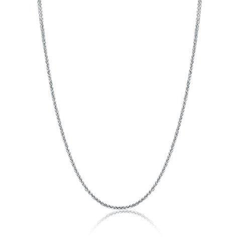 MaBelle 18K Italian White Gold Round Wheat Chain Necklace with Spring Ring Clasp (22