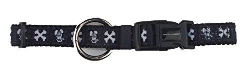 Hundehalsband - Halsband - Katzenhalsband Odie Schwarz/Weiss XL - L - M - S - XS im lustigen Design (M: 26 - 41 cm)