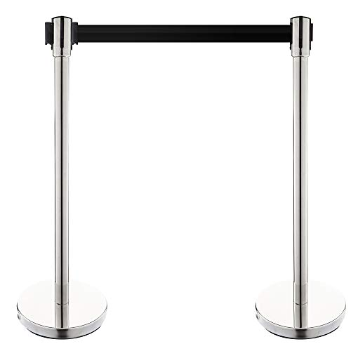 Mefeir 2PCS Heavy Duty Queue Pole Stanchion,Upgraded Crowd Control Barrier, Security Fence Stainless Steel Ball Top, Retractable Belt Posts/Red Velvet Rope VIP (White)