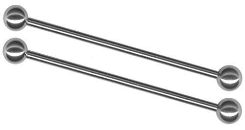 Pair of 16 gauge Industrial Barbells-8 lengths-Long Basic Stainless Steel Straight Barbell Earrings (Gauge Stainless Steel Straight Barbell)