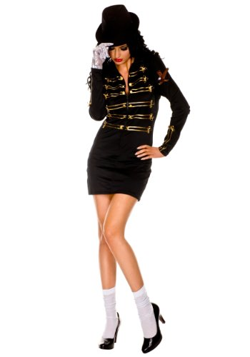 80s Michael Jackson Costume (MUSIC LEGS The Gloved One, Black,)