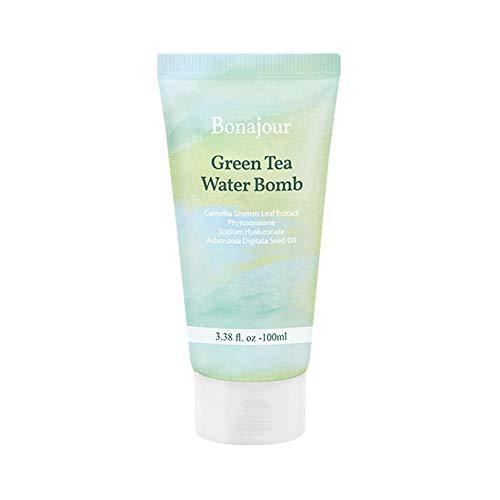 [BONAJOUR] Vegan beauty Organic Green Tea Water Bomb Natural Moisturizing Cream for dry and sensitive skin, Best Face Moisturizer_Anti Aging, Anti Wrinkle, Brightening 3.38 Fl. oz