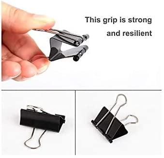 Small Teacher Home Supplies Medium Black Assorted 6 Size Office Paper Clips School Classroom Heavy Duty Metal Paper Clamps for Office Extra Large Sizes Design Tihoo 100pcs Binder Clips