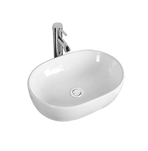 Gimify Bathroom Vessel Sink Art Wash Basin Above Counter Porcelain White for Lavatory Vanity Cabinet, 19''x13''