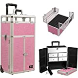 Sunrise I31065CRPK Rolling Aluminum Nail Makeup Craft Storage Organizer French Door Style with Split Drawers, Pink
