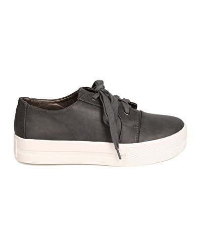 Women Lace Flatform Sneaker Charcoal Round Antonio Leatherette Up FI47 Michael Toe SUEACqwx