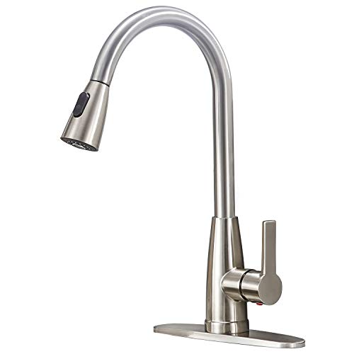 Friho Modern Commercial Lead-Free Stainless Steel Single Lever Handle High Arc Pull Down Sprayer Kitchen Sink Faucet,Brushed Nickel Pull Out Kitchen Faucets With Deck Plate (Modern Laundry Sink)
