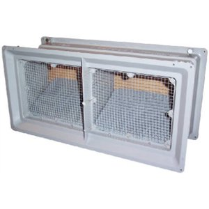 CONSTRUCTION METALS DVB6 Deluxe Foundation Vent with Doors, Gray by Construction Metals