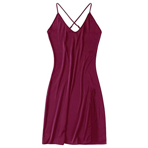TIANMI Women Lingerie One-Piece Long Skirt Sling V Collar Open Fork Inner Lap Chemise Wine ()