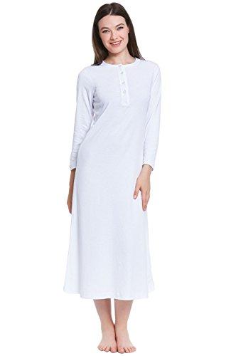 Alexander Del Rossa Womens Cotton Knit Nightgown, Long Henley Sleep Dress