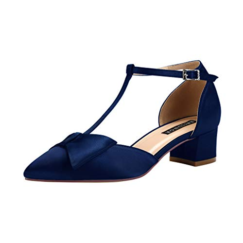 ERIJUNOR E0079 Bow Shoes Comfortable Low Heels for Women Pointy Toe T-Strap Wide Width Evening Wedding Satin Shoes Navy Size - Satin Formal Shoes