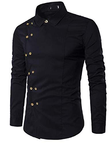 Zimaes-Men Solid Plus Size Slim Fit Double-Breasted Western Shirt Black Small