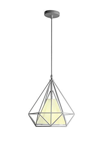 Wrought Iron Direct Wire - Samzim Polygon Deco Hanging Light, Industrial Wire cage 1-Light pendant lamp, Modern Art Diamond Pyramid Hanging fixture, White Painted Finish