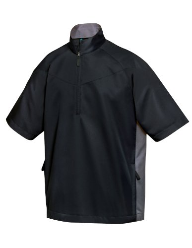 Tri-Mountain Icon Half-Zip Short Sleeve Windshirt, XL, Black/charcoal