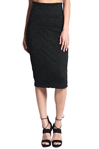 TheMogan Women's Floral Lace Overlay High Waist Pencil Midi Skirt Black (Floral Lace Overlay)