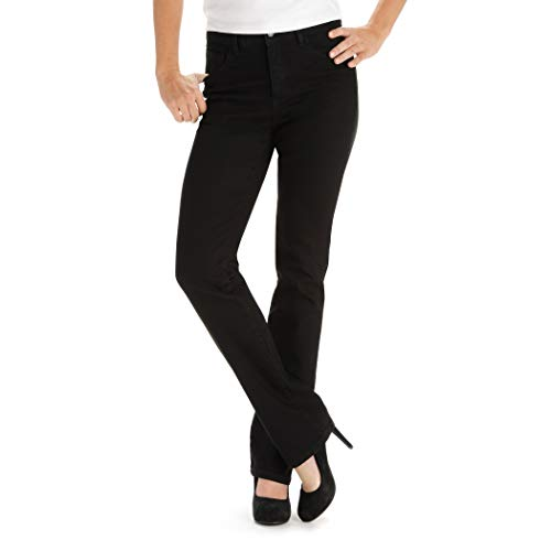(LEE Women's Tall Instantly Slims Classic Relaxed Fit Monroe Straight Leg Jean, Black, 6 Tall)