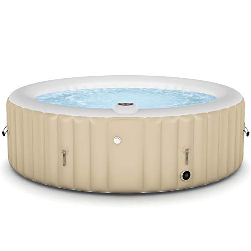 Goplus 4-6 Person Outdoor Spa Inflatable Hot Tub for Portable Jets Bubble Massage Relaxing w/Accessories Set (6-Person, White)