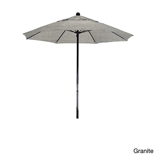 California Umbrella 100 Fiberglass Frame, Push Lift, Black Pole, Sunbrella Granite Umbrella, 7.5 Round