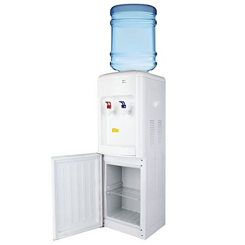 KUPPET 5 Gallon Water Cooler Dispenser-Top Loading Freestanding Water Dispenser with Storage Cabinet, Two Temperature Settings-Hot(85℃-95℃), Normal Temperature(10-15℃), WHITE by KUPPET