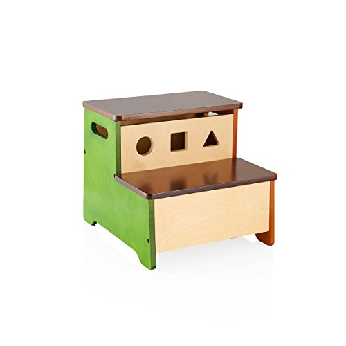 Guidecraft See and Store Step-Up - Children's Wooden Toy Storage Stool - Kids Learning Furniture