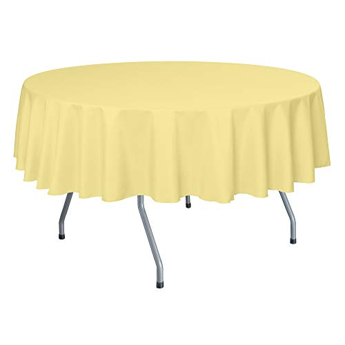 (Ultimate Textile 60-Inch Round Polyester Linen Tablecloth - Fits Tables Smaller Than 60-Inches in Diameter, Cornsilk Light Yellow)