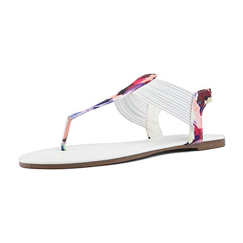 DREAM PAIRS SPPARKLY Women's Elastic Strappy String Thong Ankle Strap Summer Gladiator Sandals WHT Multi Size 8