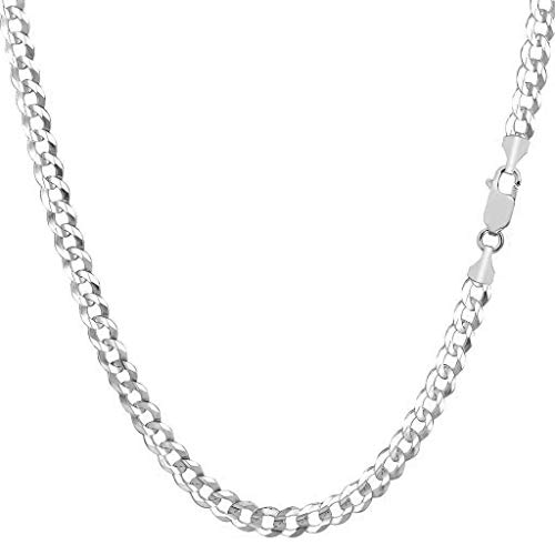 14K Solid Yellow Gold 3.8mm Cuban Curb Link Chain Necklace- Lobster Claw Clasp (White, 20) ()