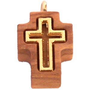 - Olive wood Cross with Embedded gold plated Cross - Latin (1.7cm - 0.67