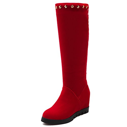 Toe Rivets Leather Synthetic Boots Increased Closed Solid With Womens Red Internal Round ENMAYER twOUqU