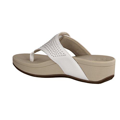 Vionic Pacific Capitola- Scarpe Da Donna Pantolette / Separatore Punta, Bianco, Pelle, Altezza Tacco: 35 Mm