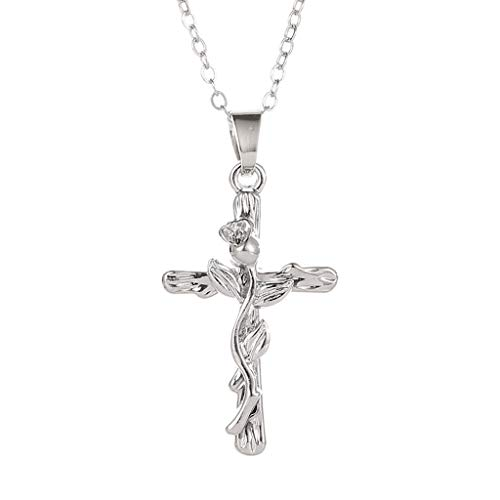 (Goddesslili Rose Gold Cross Necklace for Women Teen Girls Mom Lucky Pendant Wind Leaf Vintage Retro Wedding Engagement Anniversary Jewelry Gift Neck Chain Clavicle Chain Under 5 Dollars (Silver) )