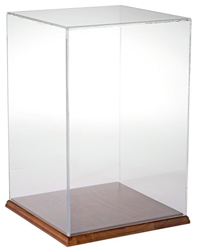 Plymor Brand Clear Acrylic Display Case with Hardwood Base,