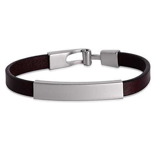 ANAZOZ Brown Red Leather Bracelet Rectangle Engravable Tag Easy Hook Cuff Bangle Bracelet 18 cm for Women