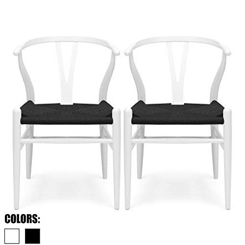 2xhome Set of 2 White Wishbone Wood Armchair with Arms Open Y Back Open Mid Century Modern Contemporary Office Chair Dining Chairs Woven Black Seat Living Desk Office