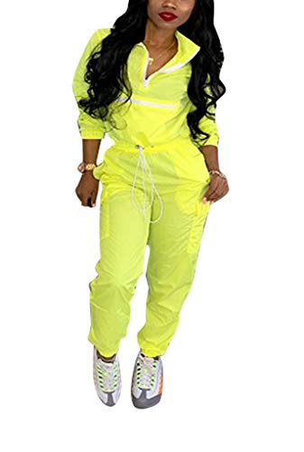 Jacket Zip Pullover Half (Bluewolfsea Women 2 Piece Outfits Jumpsuits Lightweight Windbreaker Half Zip Pullover Jacket and Pants Set Large Yellow)