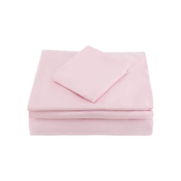 EVERYDAY KIDS 4 Piece Toddler Bedding Set - Includes Comforter, Flat Sheet, Fitted Sheet and Reversible Pillowcase - Solid Pink 5