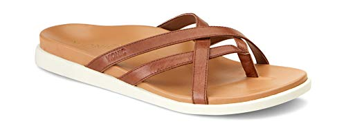 Vionic Women's Palm Daisy Toe-Post Sandal - Ladies Flip-Flop Concealed Orthotic Support Toffee 6.5 M US
