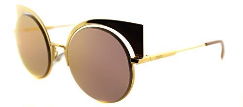 Fendi FF 0177 001 Eyeshine Yellow Gold Metal Cat-Eye Gold Mirror Lens ()