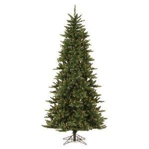 Vickerman Pre-Lit Camdon Fir Slim Tree with 700 Clear Dura-Lit Lights, 7.5-Feet, Green