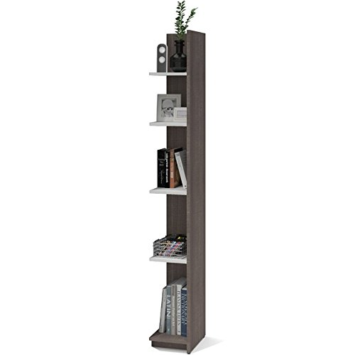 Bestar Small Space 10'' Add-on Storage Tower in Bark Gray and White