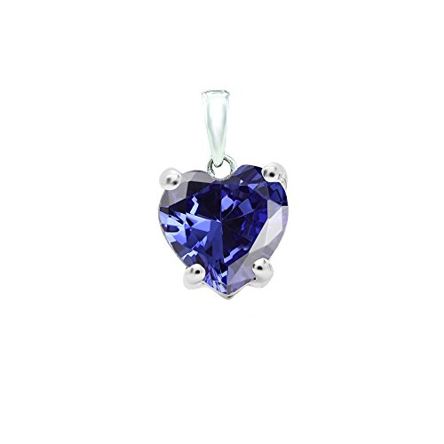 (Dazzlingrock Collection 14K 6 MM Heart Cut Tanzanite Ladies Heart Shaped Pendant, White Gold )