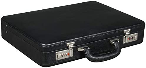 BRAND LEATHER Luxury Frosted Combination Lock Real Leather Business Cum Office Briefcase (Black)